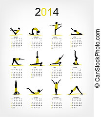 Yoga calendar 2014 for your design