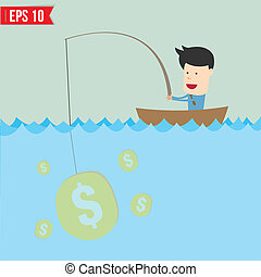 Cartoon businessman catching money in the sea - Vector...