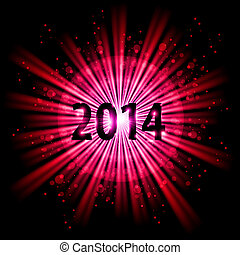 2014 in starlight - 2014 in red light of bursting star with...
