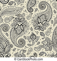 Seamless Paisley background. Elegant Hand Drawn vector...