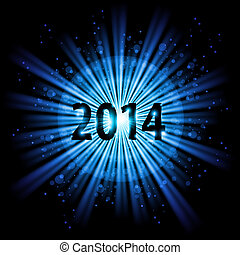 2014 in starlight - 2014 in blue light of bursting star with...