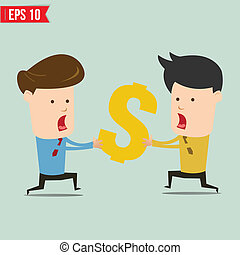 Business man snatching money - Vector illustration - EPS10