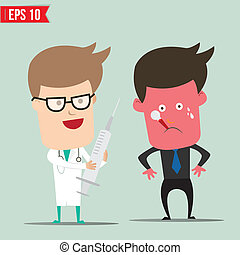 Cartoon Doctor using syringe - Vector illustration - EPS10