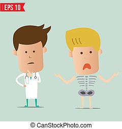 Cartoon Doctor analyse x-ray a report - Vector illustration...
