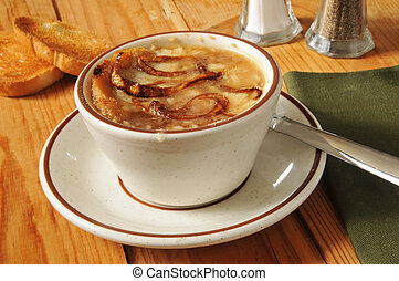 French onion soup - A cup of French Onion soup with toast...