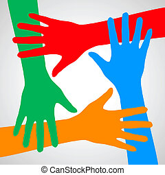 Hands of friendship - Colorful hands symbolizing friendship,...