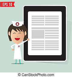 Cartoon nurse showing a report - Vector illustration - EPS10
