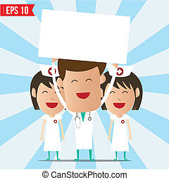 Cartoon doctor and nurse smile and show twhite board -...