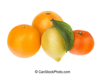 Group of citrus fruit mandarin orange and lemon On a white...
