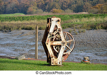 Winding gear by river - Metal winder by river