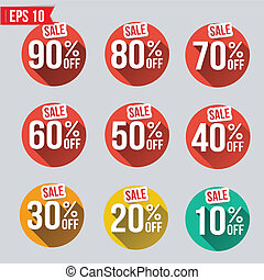 Discount tag flat and long shadow design - Vector...