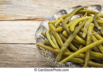 green (French) beans steamed - cooked green (French) beans...