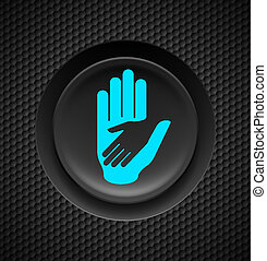 Helping hand button - Black button with helping hand sign on...