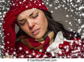 Sick Woman with Tissue and Snow Effect Surrounding - Sick...