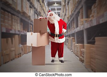 Santa Claus courier - Tired Santa Claus courier with some...