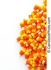 Halloween Candy - Halloween candy-corn on a white...