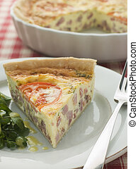 Quiche Lorraine with Watercress salad and Vinaigrette