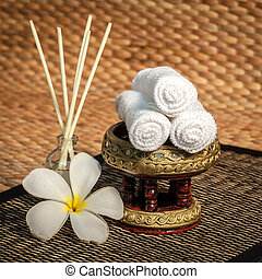 Spa massage setting with thai herbal spa ball