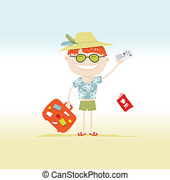 Happy tourist with tickets and suitcase for your design