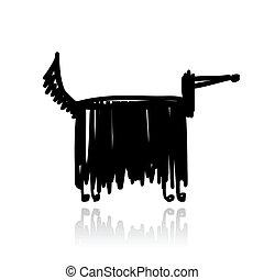 Funny black dog for your design