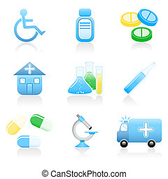 Medical icon set - Set with medical and health icons