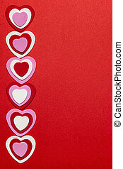 Red Valentines day background with hearts - Border of...