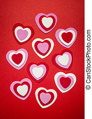 Red and pink Valentines day hearts