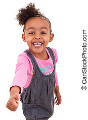 Portrait of an african american little girl making thumbs up...