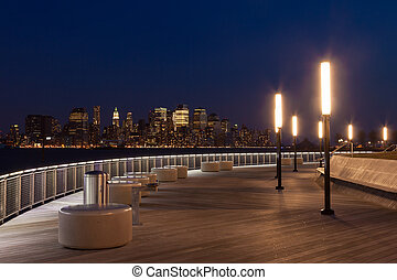 New York - Manhattan skyline view by night from Hoboken...
