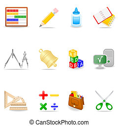 Education icon set - Icon set with school symbols