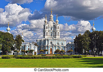 St. Nicholas Cathedral in Saint-Petersburg, Russia. Summer...