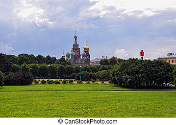 Church Savior on Blood and park in St-Petersburg, Russia. -...