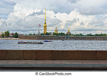 View to the Fortness of St. Peter and Pavel from the river...