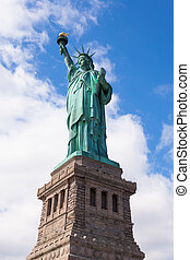 The Statue of Liberty in New York City - Front view of the...