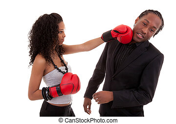 Young black woman fighting with her boyfriend - Black people...