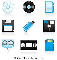 Icon set Storage media - Set with storage media icons