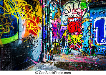 Colorful designs in the Graffiti Alley, Baltimore, Maryland