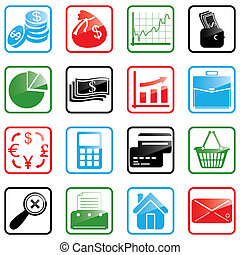Icon set Finance - Illustration of finance and shopping...