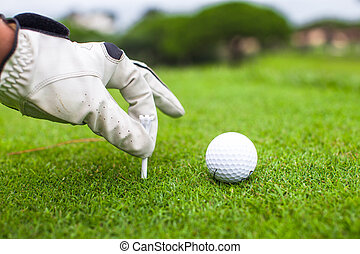 Hand placing golf-ball on tee over beautiful golf course...