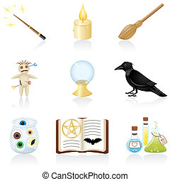 Icon set Magic - Set with equipment for magic