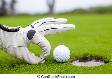 Close-up of a man's hand putting golf ball in hole at course