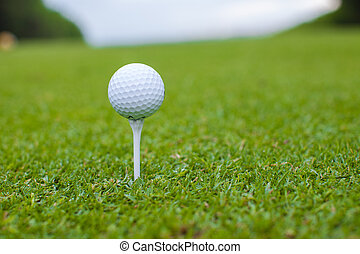 Golfball on a tee against the golf course - Golf ball on a...