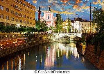 Ljubljana, Slovenia - Ljubljana at a twiligth - capital town...