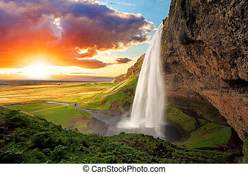 Waterfall, Iceland - Seljalandsfoss - Seljalandsfoss is one...
