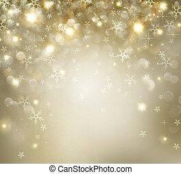 gyllene, jul, helgdag, bakgrund, med, förbaskad,...