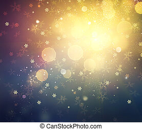 Christmas Background. Golden Holiday Abstract Defocused Background