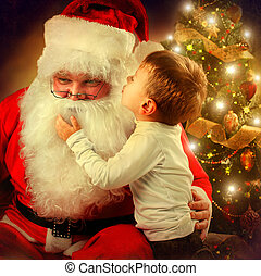 Santa Claus and Little Boy. Christmas Scene