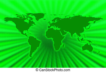 Green Planet - CG map of planet earth over green  background