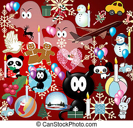 xmass - Poster with different xmass icones and symboles