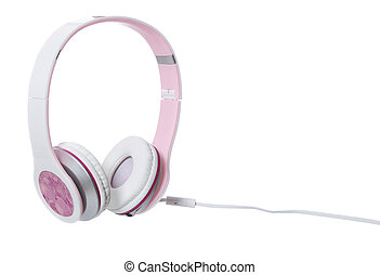 Pink Headphones - Pink headphones isolated on white...
